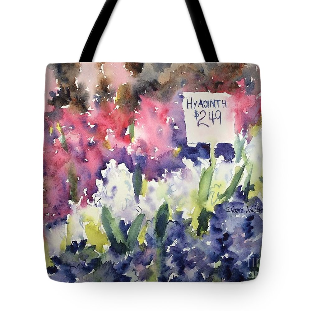 Hyacinth Tote Bag featuring the painting Hyacinths by Diane Wallace