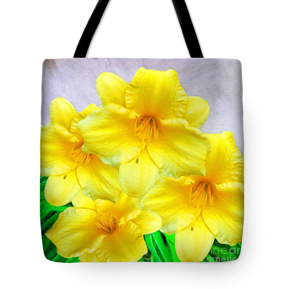 Daffodils Tote Bag featuring the photograph Hybrid Daffodils by Laura D Young
