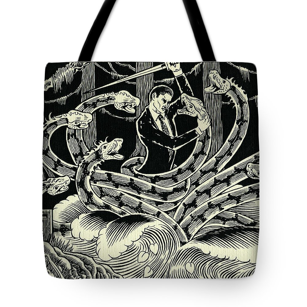Hydra Tote Bag featuring the drawing Hydra by Lance Miyamoto