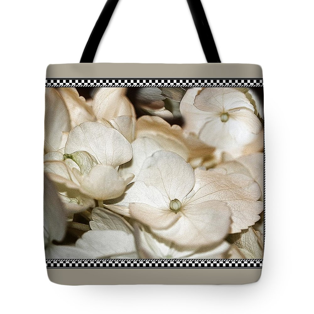 Hydrangea Tote Bag featuring the photograph Hydrangea Blossom Framed by Andrea Lazar