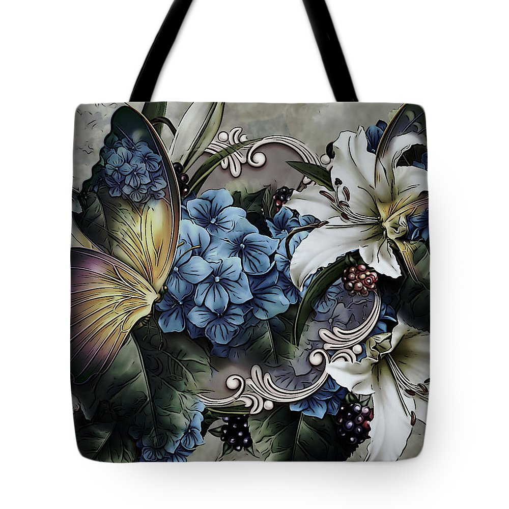 Easter Lily Mixed Media Tote Bags