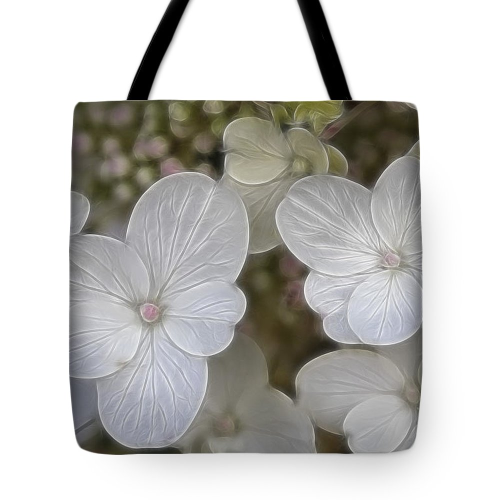 Flowers Tote Bag featuring the mixed media Hydrangea Fractalius by Deborah Benoit
