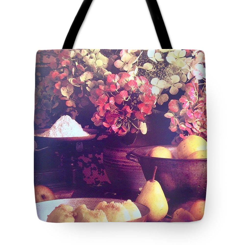Tote Bag featuring the photograph Hydrangeas And Pears Vignette by Jacqueline Manos