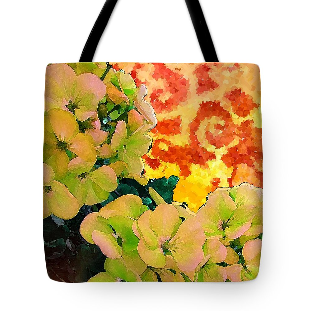 Contemporary Art Tote Bag featuring the painting Hydrangeas And Swirls by Desiree Paquette
