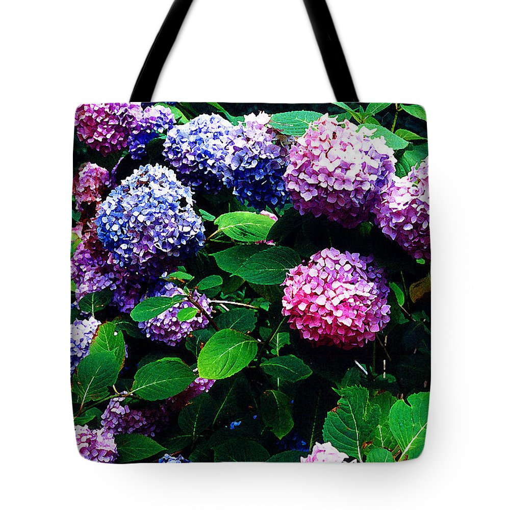 Flowers Tote Bag featuring the photograph Hydrangeas by Nancy Mueller