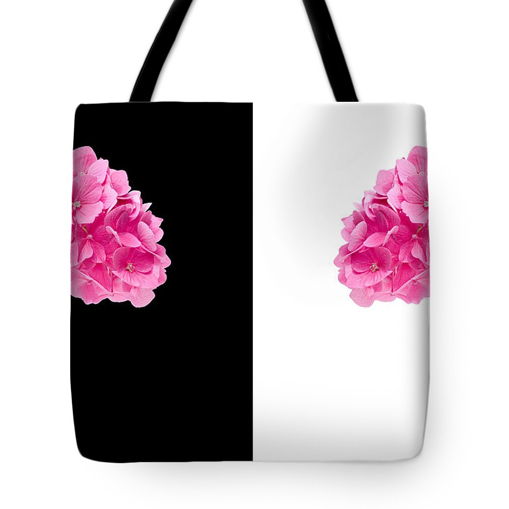 Background Tote Bag featuring the photograph Hydrangeas On Black And White by Meirion Matthias