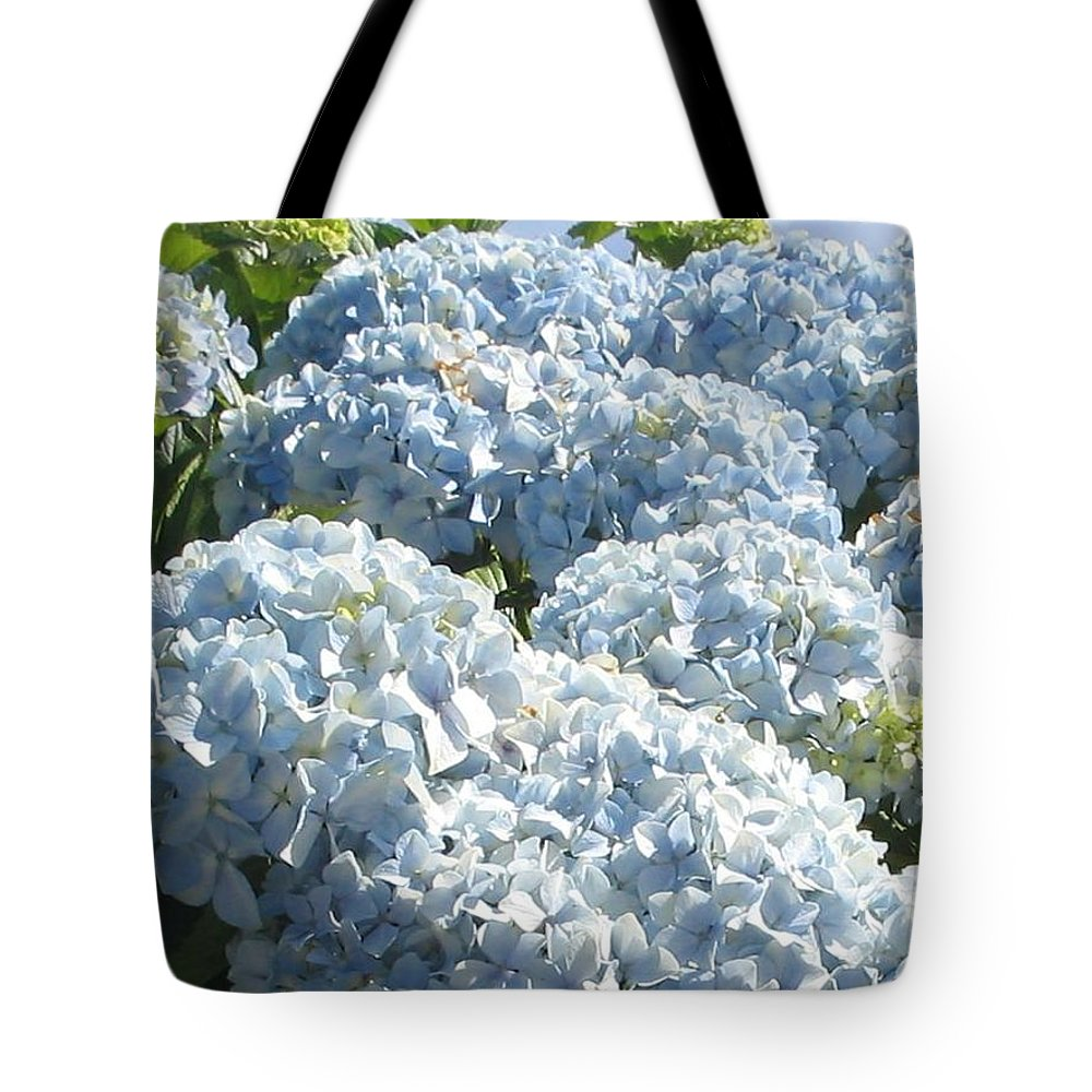 Blue Hydrangea Tote Bag featuring the photograph Hydrangeas by Valerie Josi
