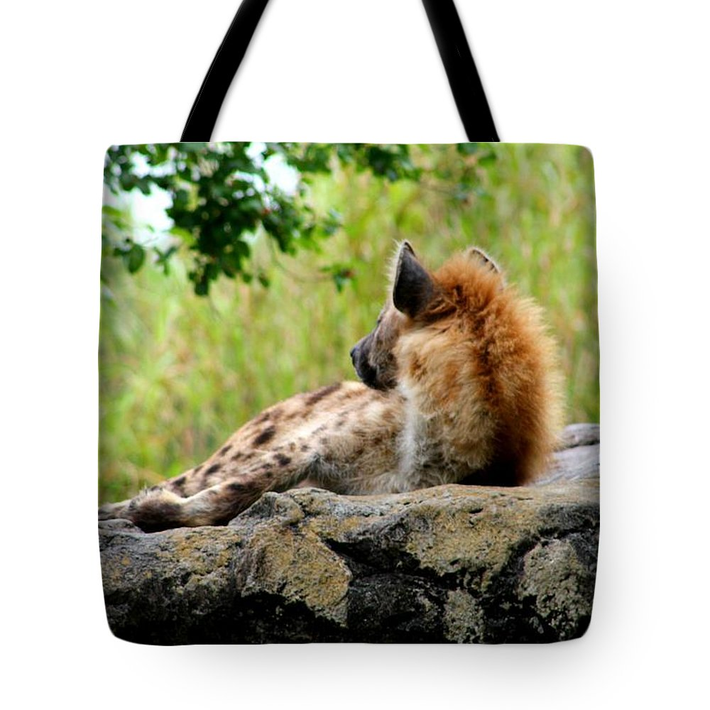 Hyena Tote Bag featuring the photograph Hyena by Amber Sims