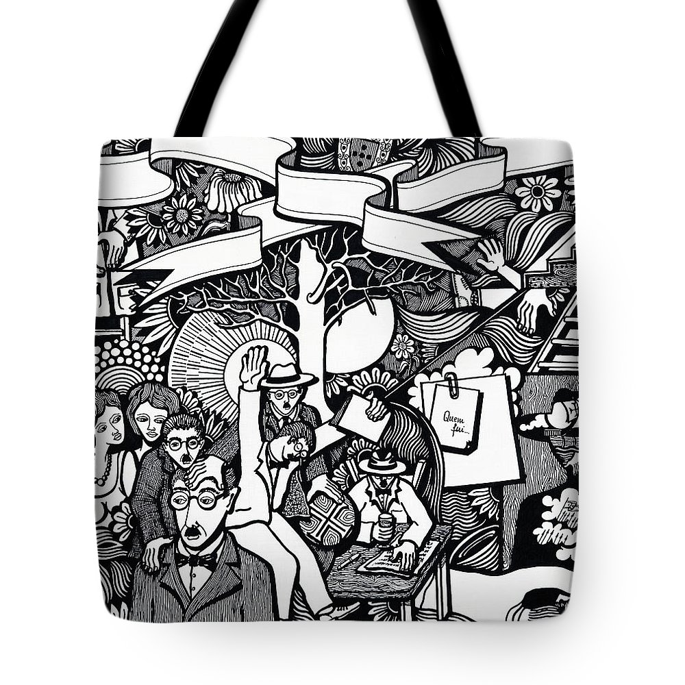 Drawing Tote Bag featuring the drawing I Also Had Who Also Smiled At Me by Jose Alberto Gomes Pereira