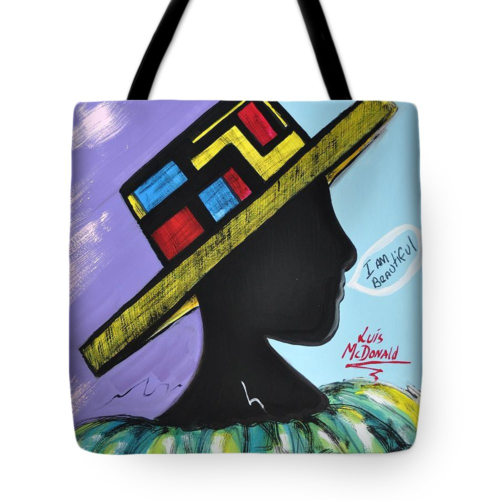 Autumn Tote Bag featuring the painting I Am Beautiful by Luis McDonald