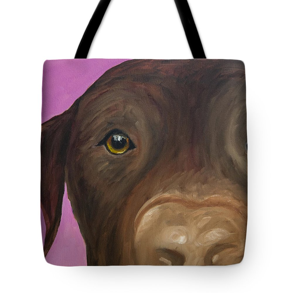 Chocolate Lab Tote Bag featuring the painting I Am Being Really Good by Roger Wedegis