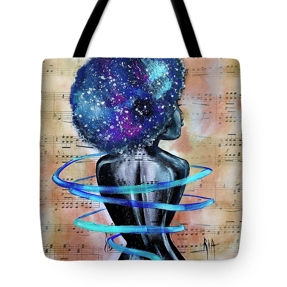 Space Tote Bag featuring the painting I am her... She is Me by Artist RiA