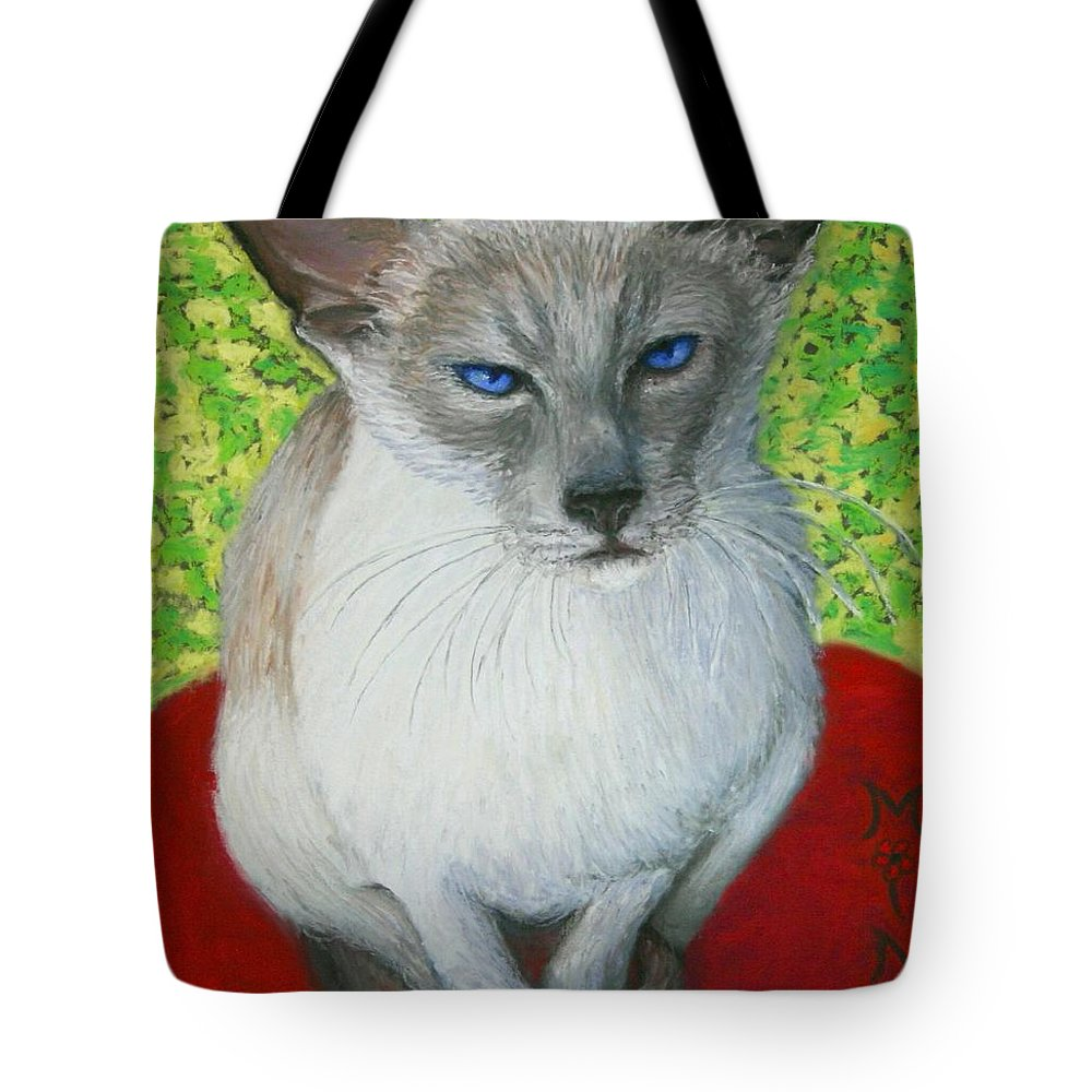 Siamese Tote Bag featuring the painting I Am Siamese If You Please by Minaz Jantz