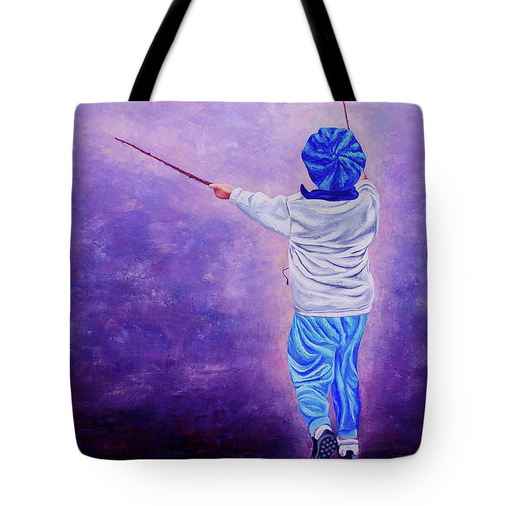 Kid Tote Bag featuring the painting I Am The King Of The World 2 - Yo Soy El Rey Del Mundo 2 by Rezzan Erguvan-Onal
