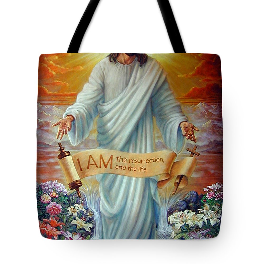 Jesus Christ Tote Bag featuring the painting I Am The Resurrection by John Lautermilch