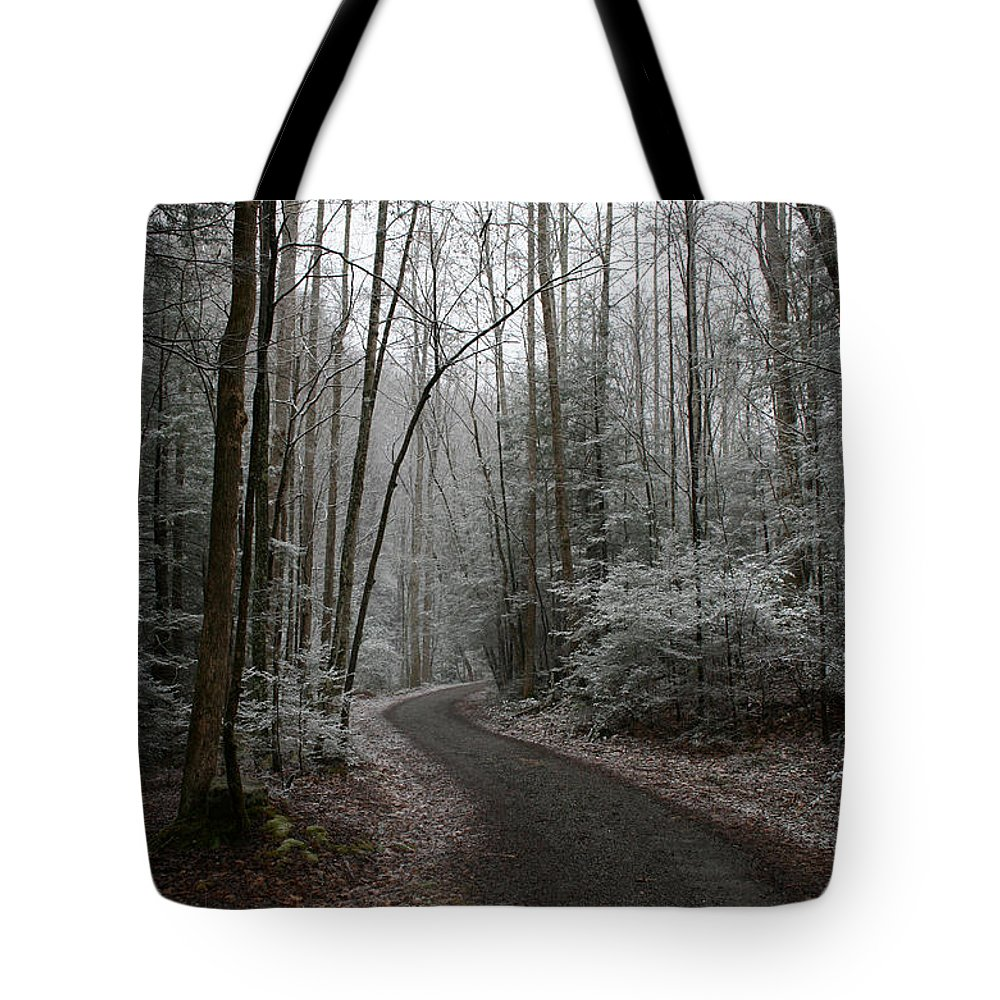 Nature Road Country Woods Forest Tree Trees Snow Winter Peaceful Quite Path White Forest Drive Tote Bag featuring the photograph I Am The Way by Andrei Shliakhau