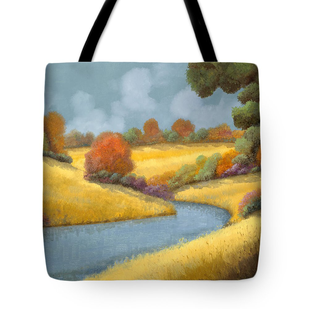 Landscape Tote Bag featuring the painting I Campi Da Mietere by Guido Borelli