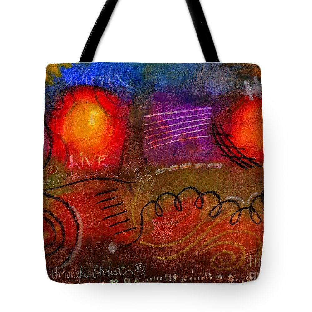 Scripture Tote Bag featuring the painting I Can Do All Things by Angela L Walker