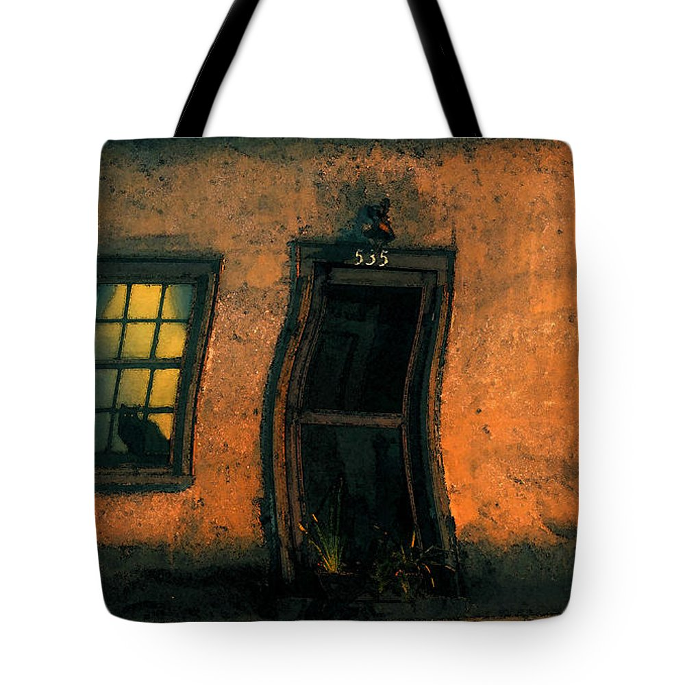Cat Tote Bag featuring the painting I Dreamed A Black Cat by David Lee Thompson