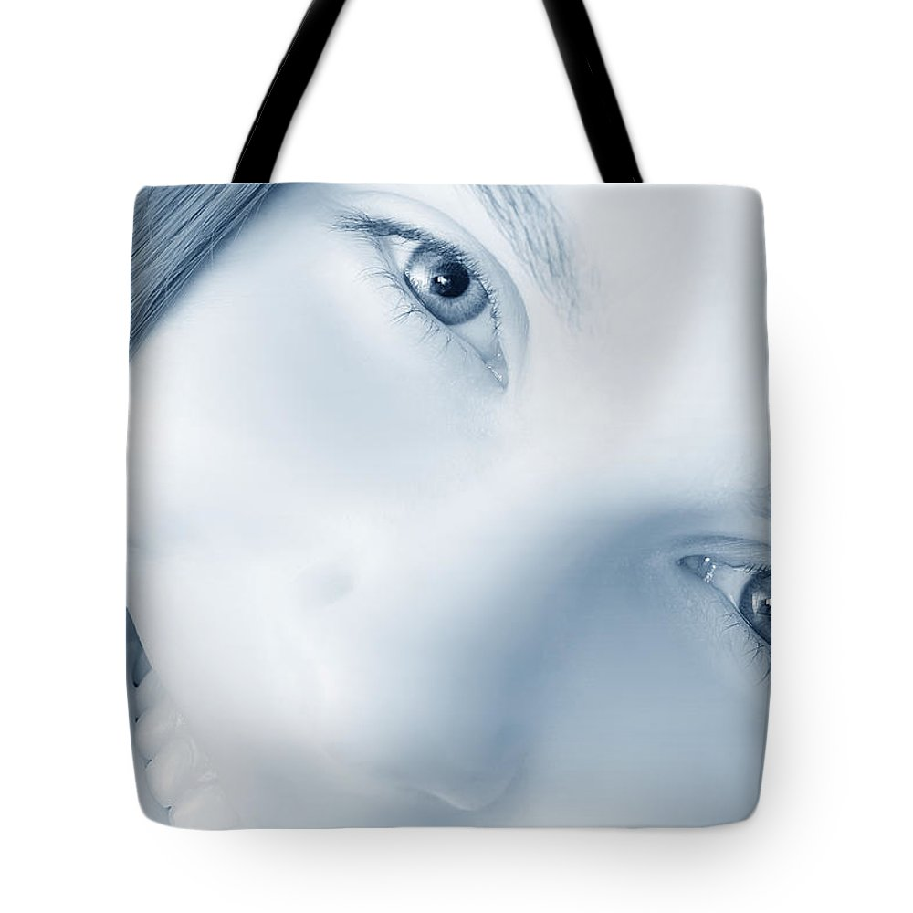 Guard Tote Bag featuring the photograph I Guard Your Eyes by Daniel Csoka