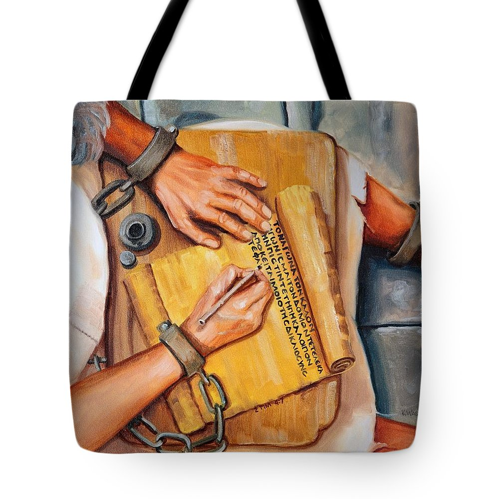 Christian Tote Bag featuring the painting I Have Kept The Faith by Karl Wagner
