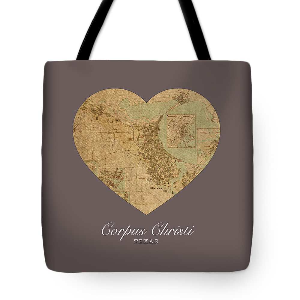 I Heart Tote Bag featuring the mixed media I Heart Corpus Christi Texas Street Map Love Americana Series No 066 by Design Turnpike