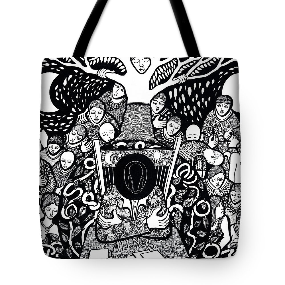 Drawing Tote Bag featuring the drawing I Know Not What Nature Is I Sing It by Jose Alberto Gomes Pereira