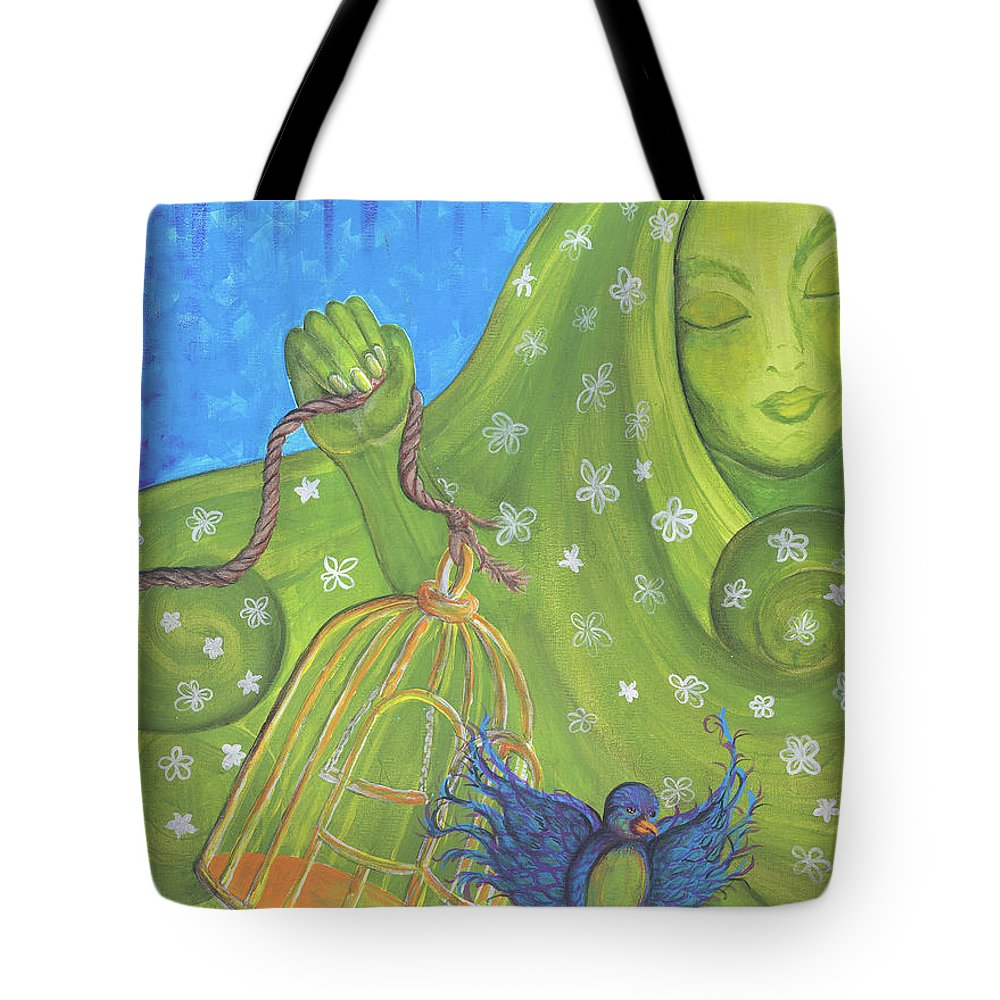 Contemporary Tote Bag featuring the painting I Know Why The Caged Bird Sings Pro by Susan Maki