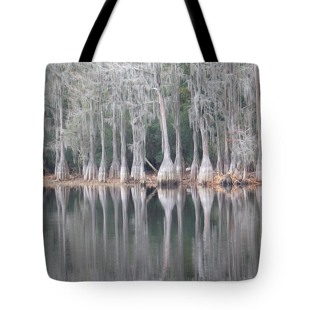Cypress Trees Lake Reflection White Green Fl Tote Bag featuring the photograph I Love Cypress by Kent Dunning