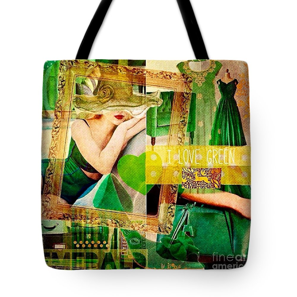 Tote Bag featuring the digital art I Love Green by Nidigicrea Collages
