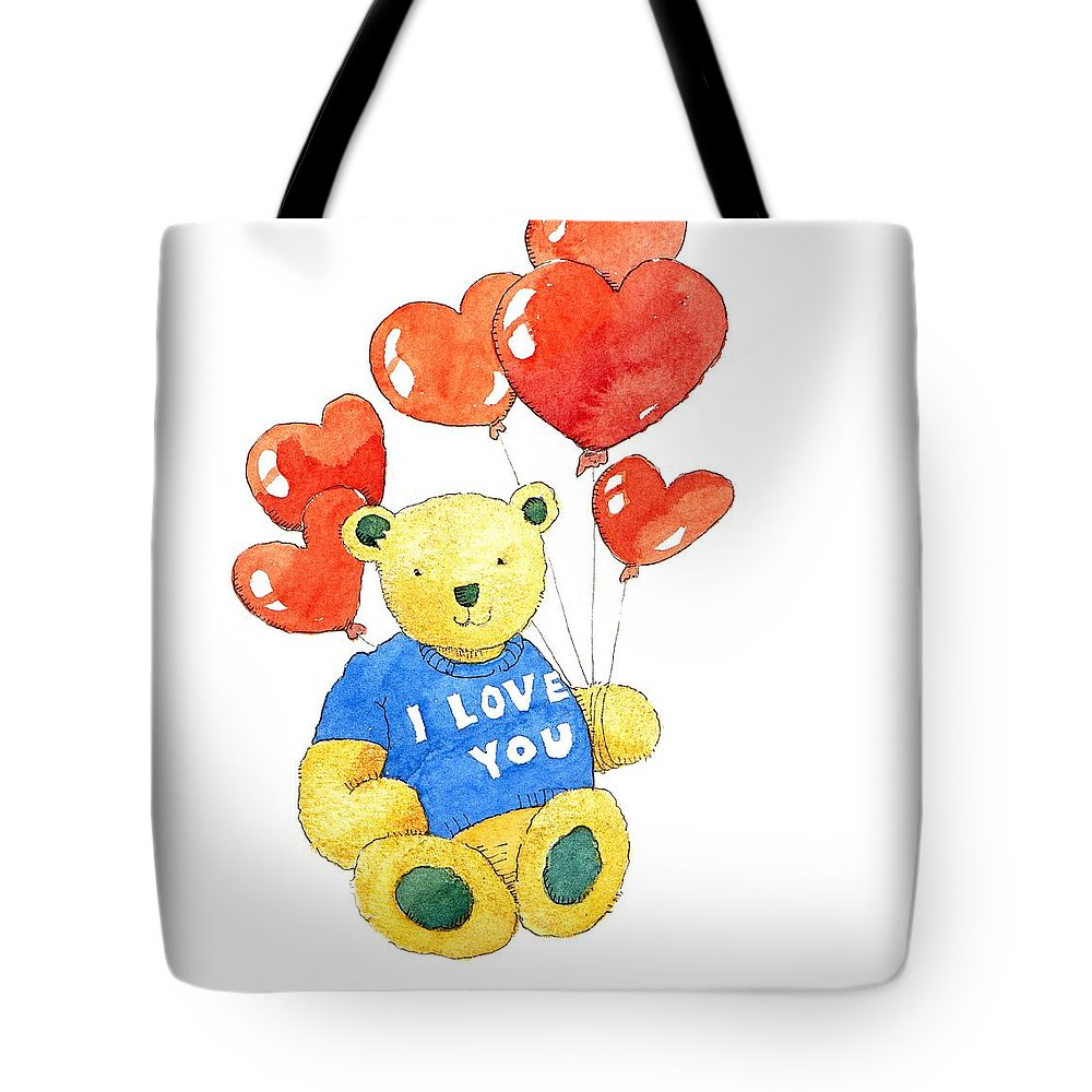 Teddy Tote Bag featuring the painting I Love You Bear by Jennifer Abbot