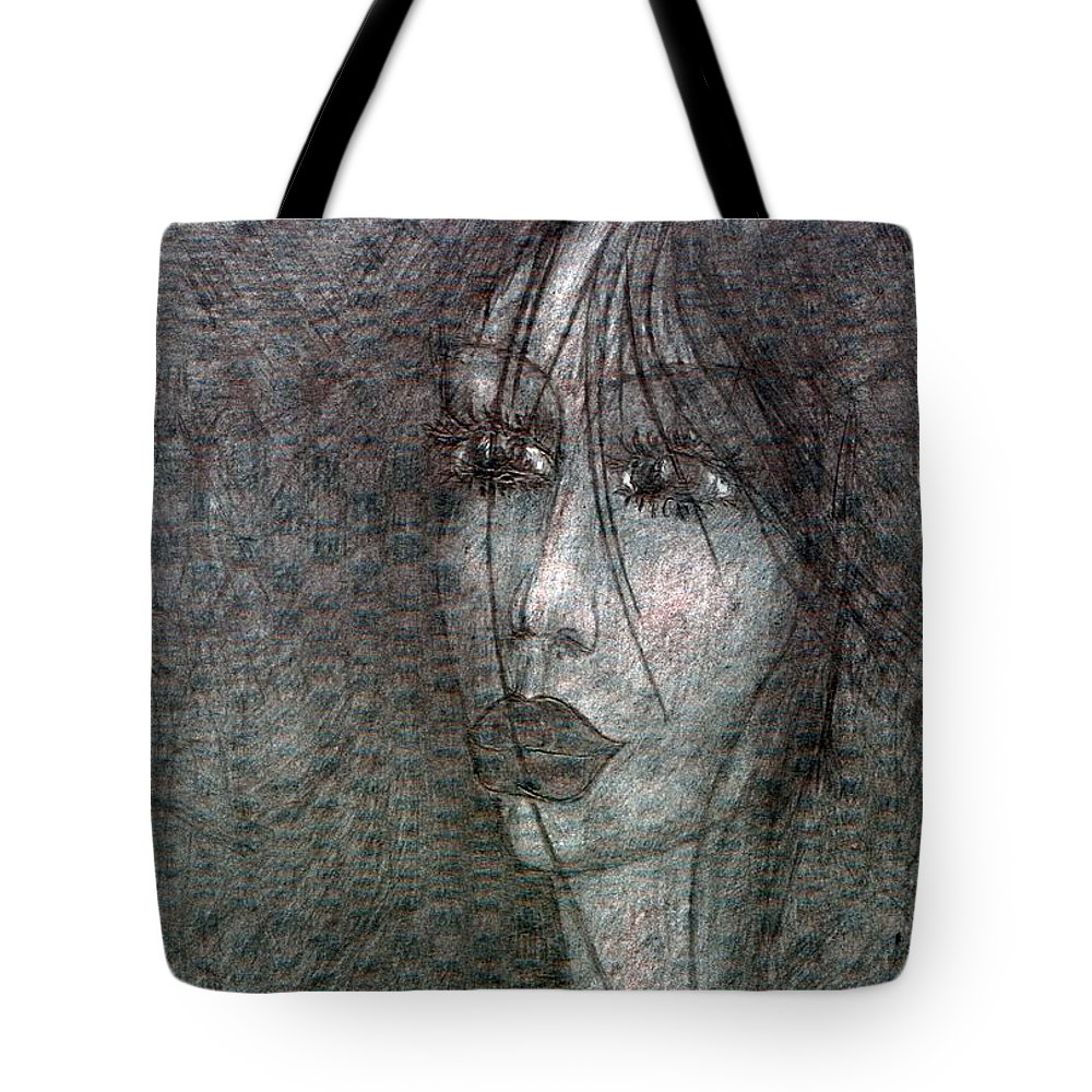 Psychedelic Tote Bag featuring the drawing I Miss For You by Wojtek Kowalski