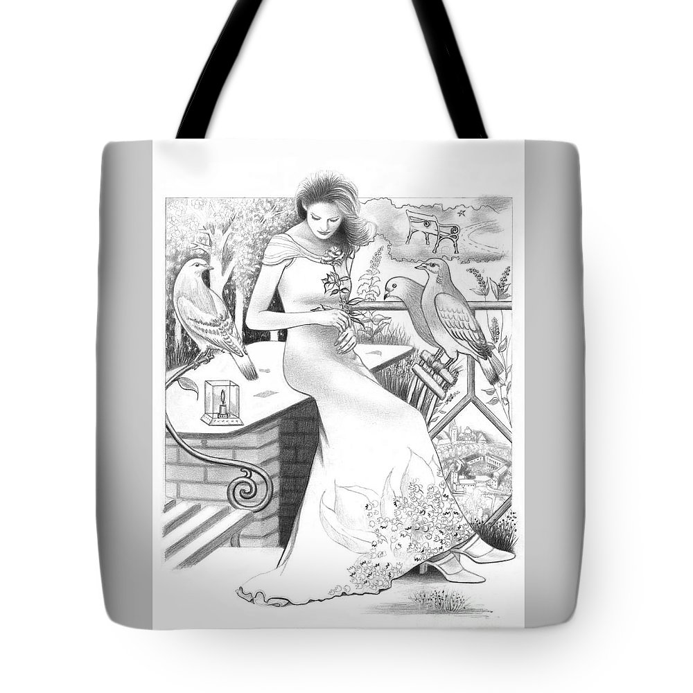 Girl Tote Bag featuring the drawing I Miss You by Mira Ostojic