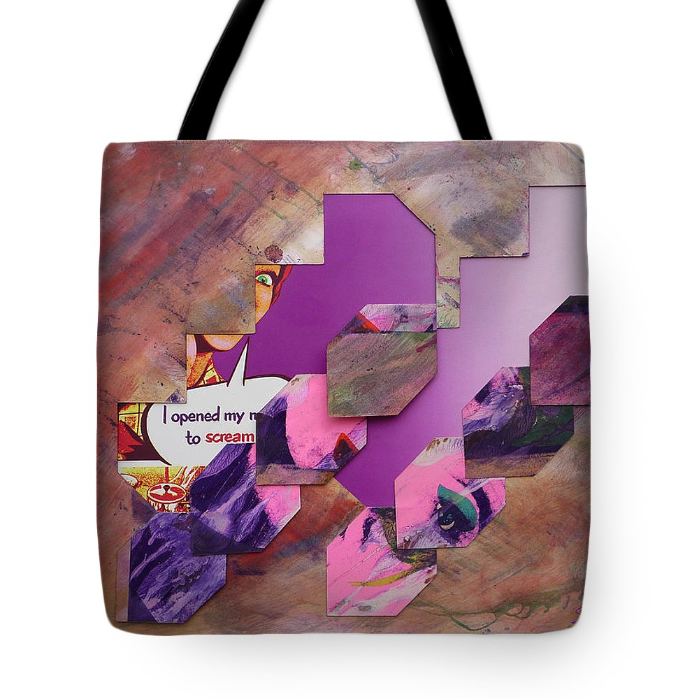 Psycho Tote Bag featuring the mixed media I Opened My Mouth To Scream by Charles Stuart
