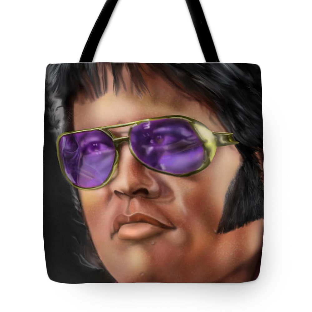Elvis Presley Tote Bag featuring the painting I Remember Elvis by Reggie Duffie