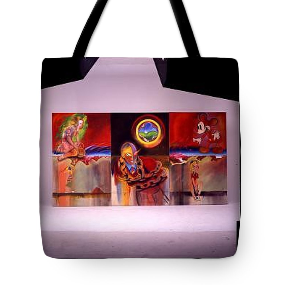 Spiderman Tote Bag featuring the painting I Saw The Figure Five In Gold by Charles Stuart