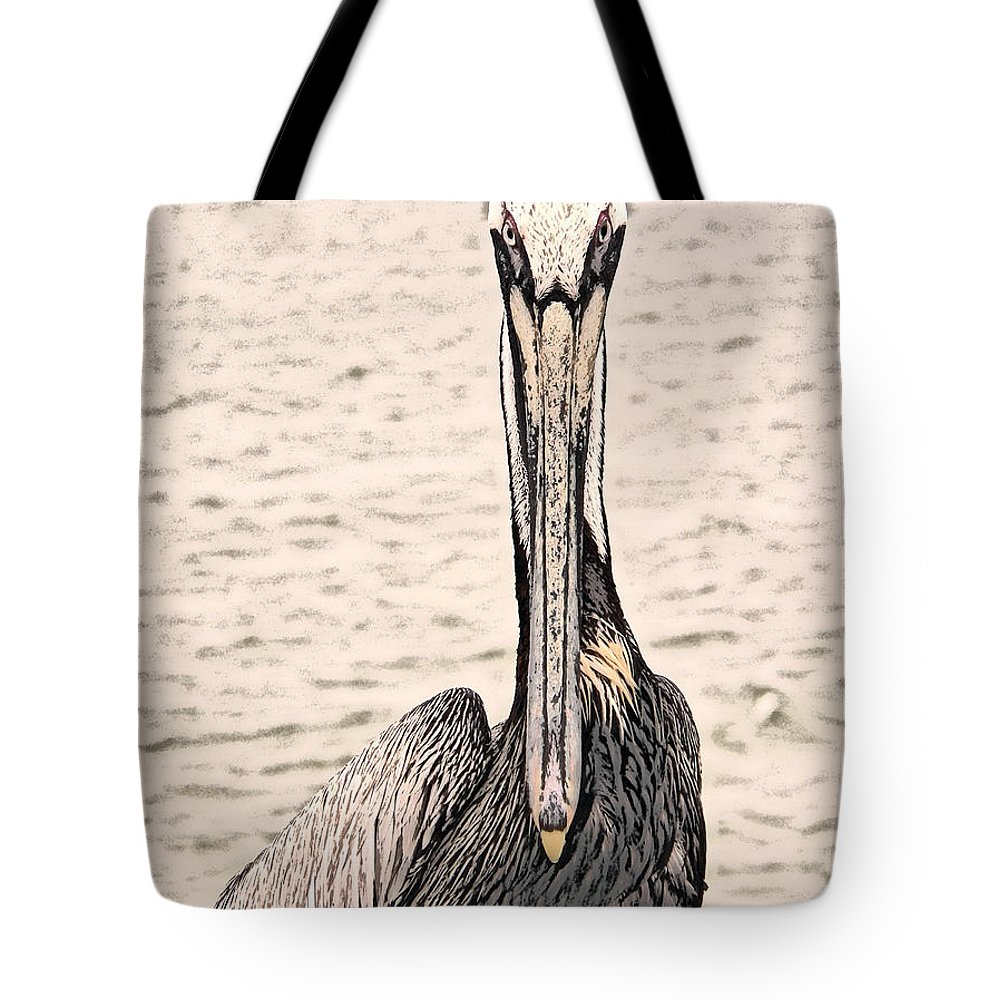 Brown Pelican Tote Bag featuring the photograph I See You Too by Steven Sparks