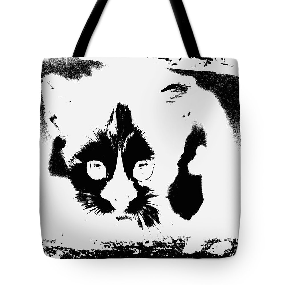 Black Andd White Tote Bag featuring the painting    I See You by Virginia Bond