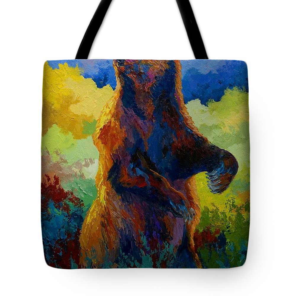 Bear Tote Bag featuring the painting I Spy - Grizzly Bear by Marion Rose
