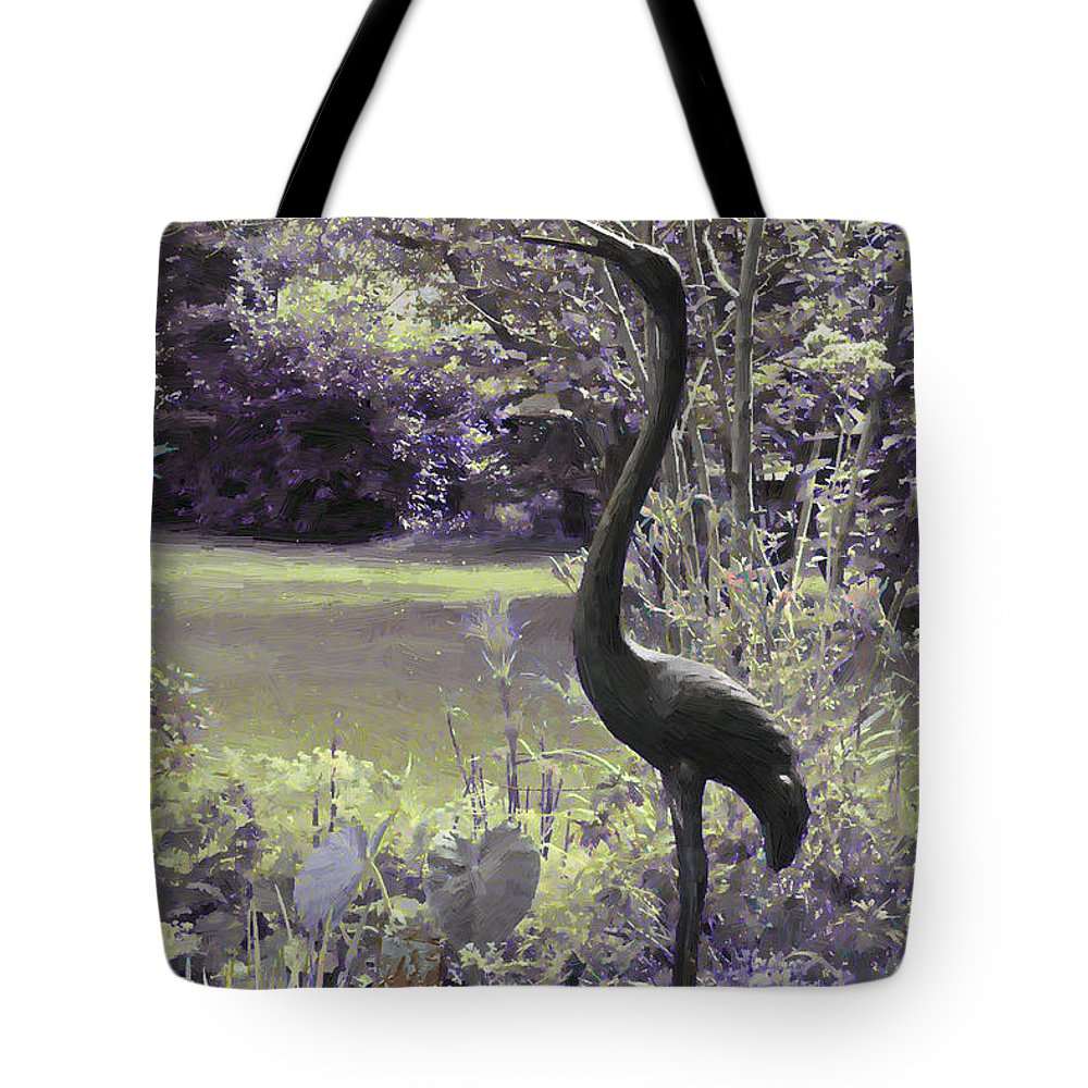 Egret Tote Bag featuring the digital art I Stand Tall by Sandra Foster