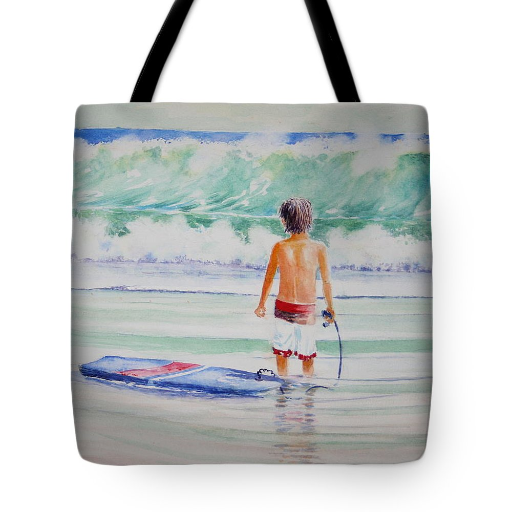 Sea Scape Tote Bag featuring the painting I Think I Will Wait For Dad. by Tom Harris