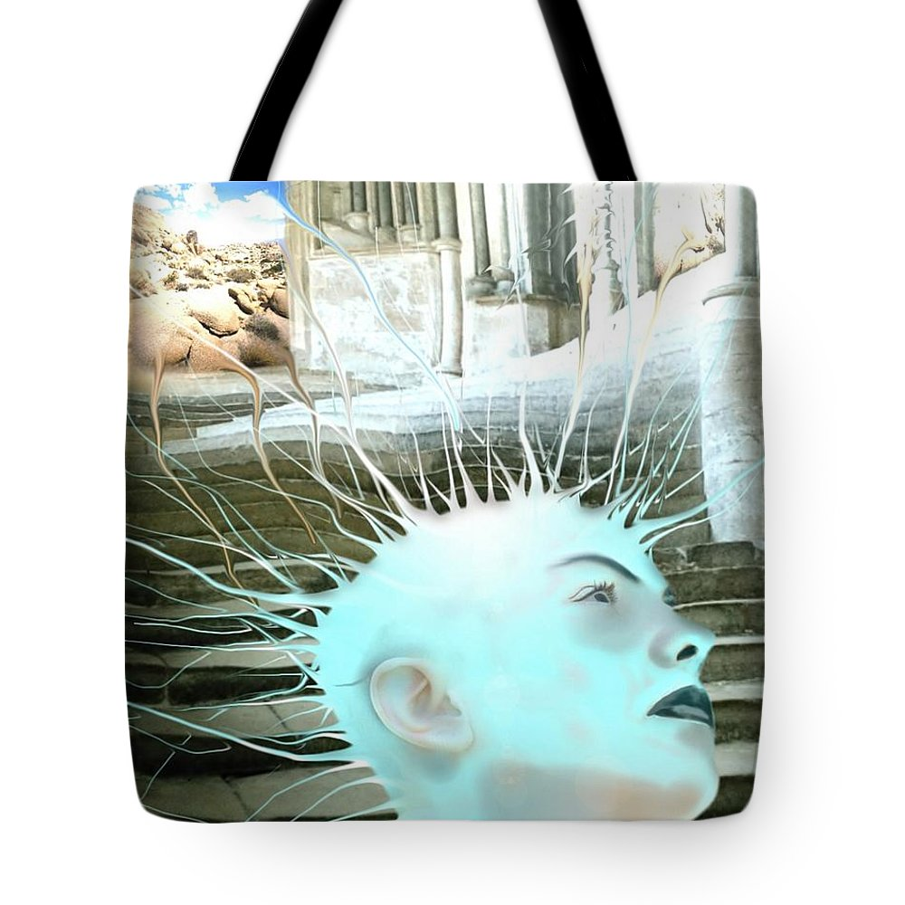 Thoughts Stairs Energy Space Tote Bag featuring the digital art I by Veronica Jackson