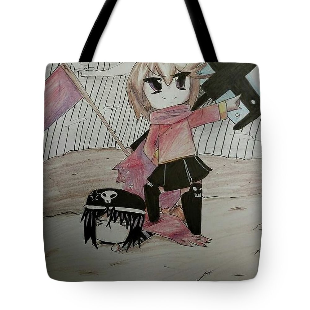 Chibi Tote Bag featuring the drawing I Win by Lauren Champion