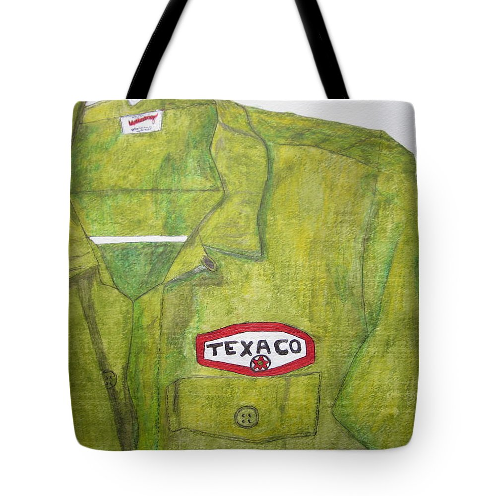 Vintage Tote Bag featuring the painting I Worked At Texaco by Kathy Marrs Chandler