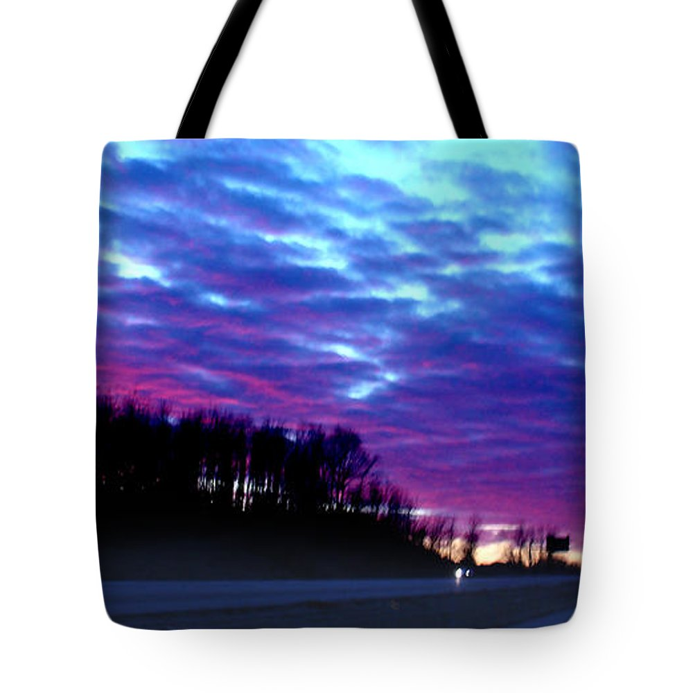 Landscape Tote Bag featuring the photograph I70 West Ohio by Steve Karol
