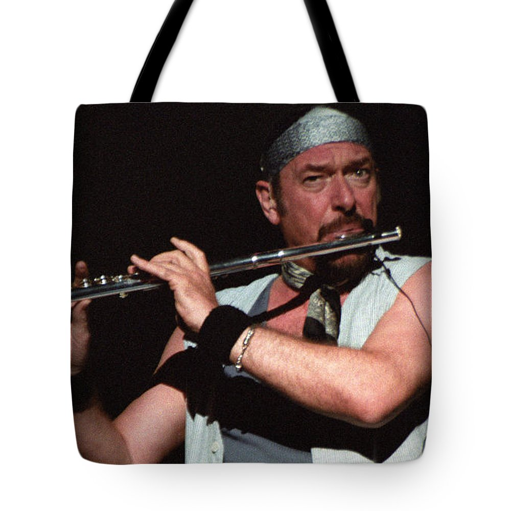 Jethro Tull Ian Anderson Aqualung Live Photography Concert Jones Beach Ny Bloomrosen T-shirt Shower Curtain Print Duvet Cover Pouch Battery Charger Tote Beach Blanket Tote Bag featuring the photograph Ian Anderson Of Jethro Tull by J Bloomrosen