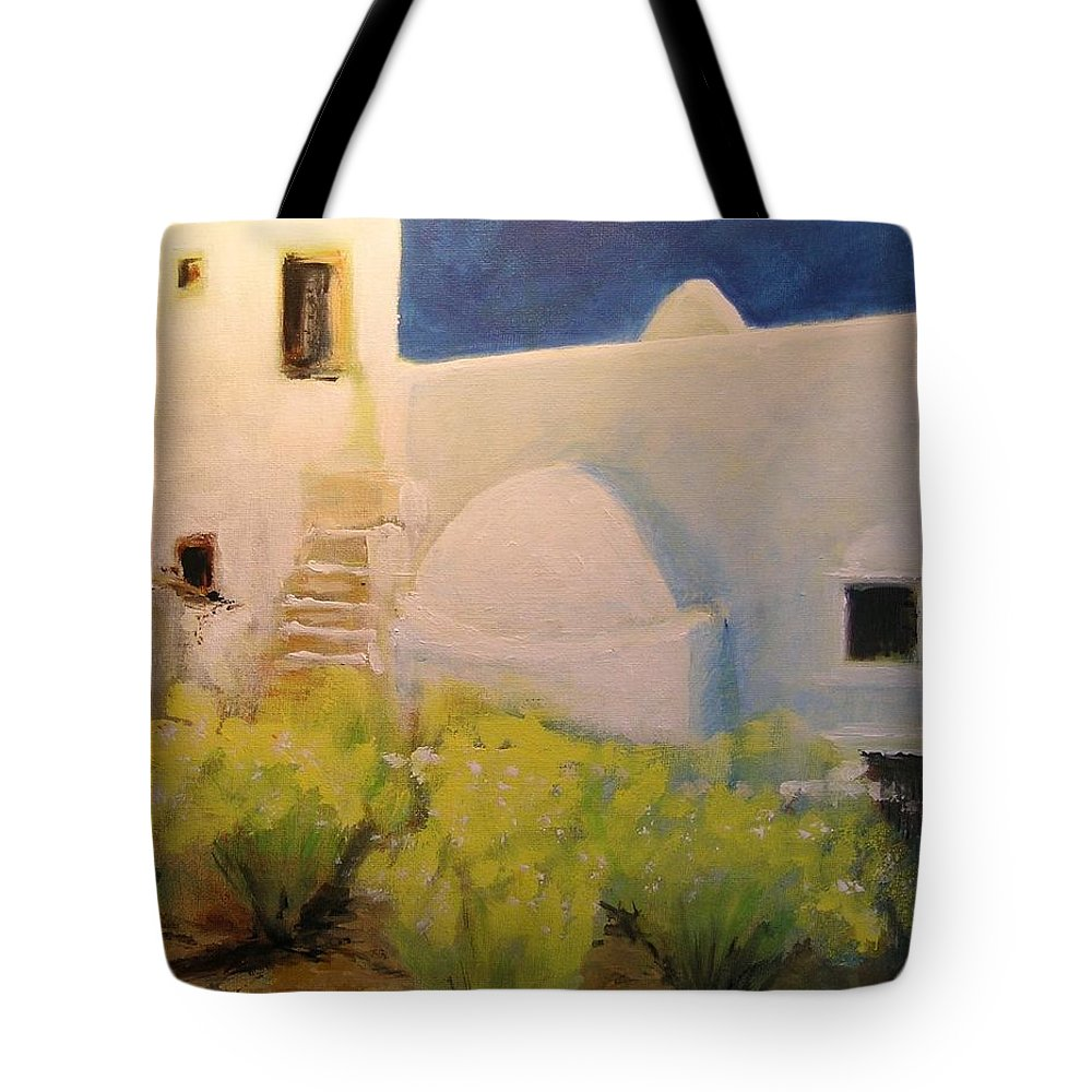 Landscape Tote Bag featuring the painting Ibicencan Country House by Lizzy Forrester