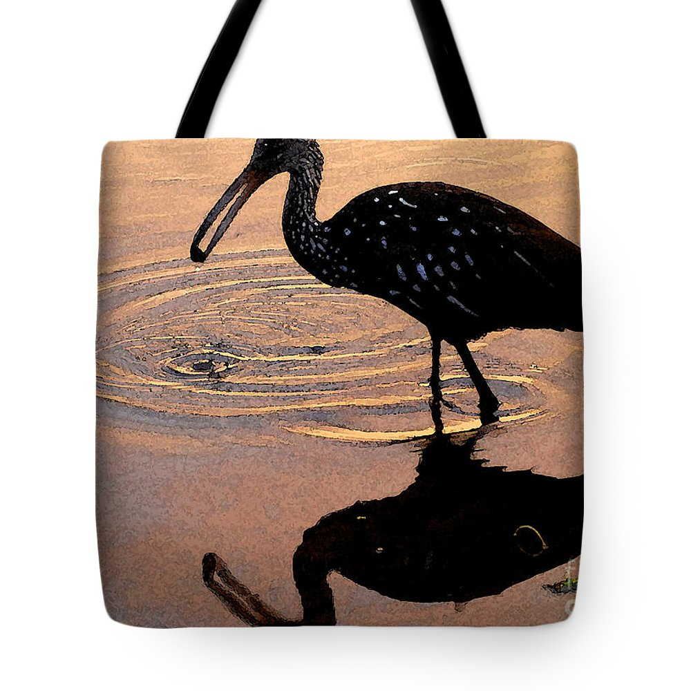Ibis Tote Bag featuring the painting Ibis At Dusk by David Lee Thompson