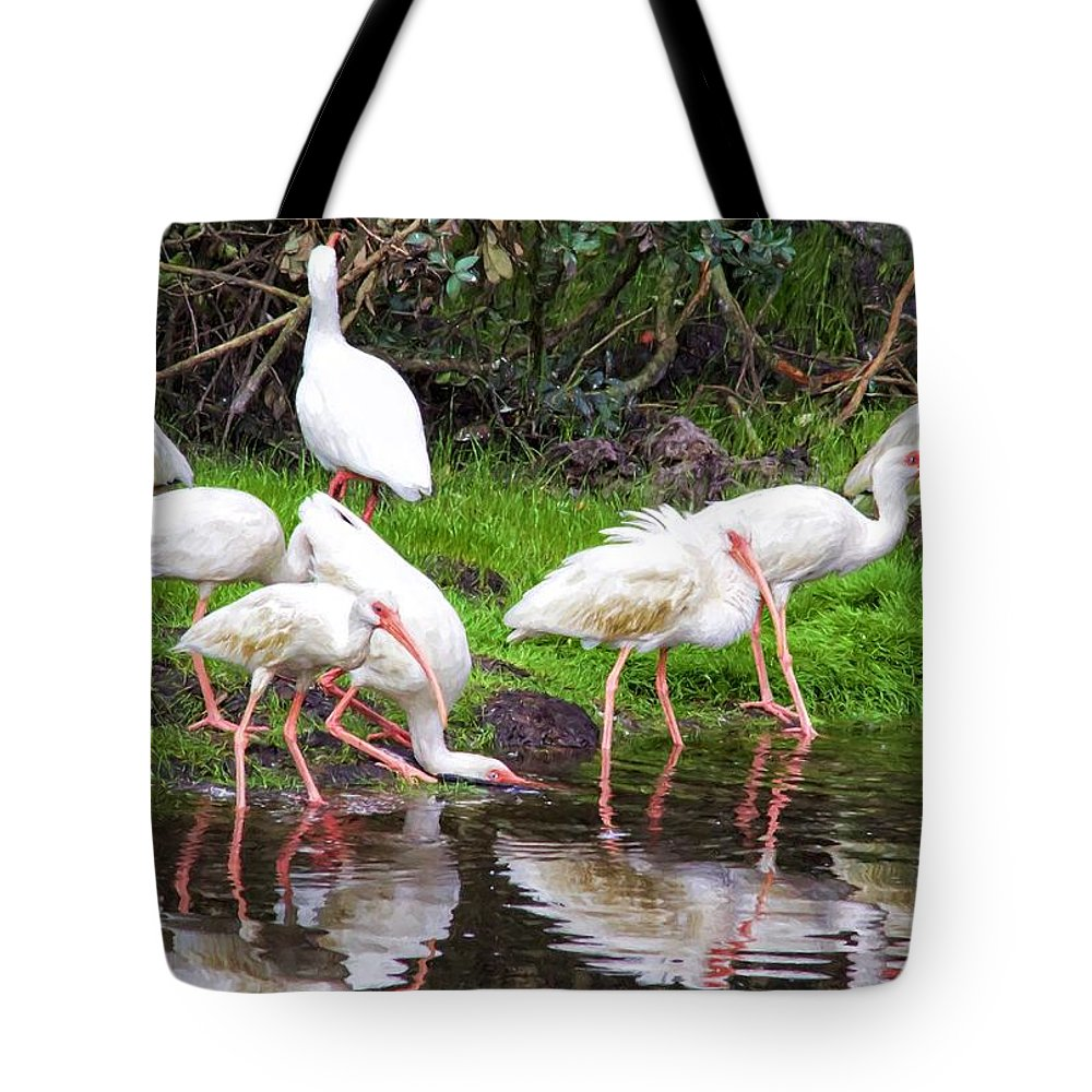 Alicegipsonphotographs Tote Bag featuring the photograph Ibis Reflections by Alice Gipson