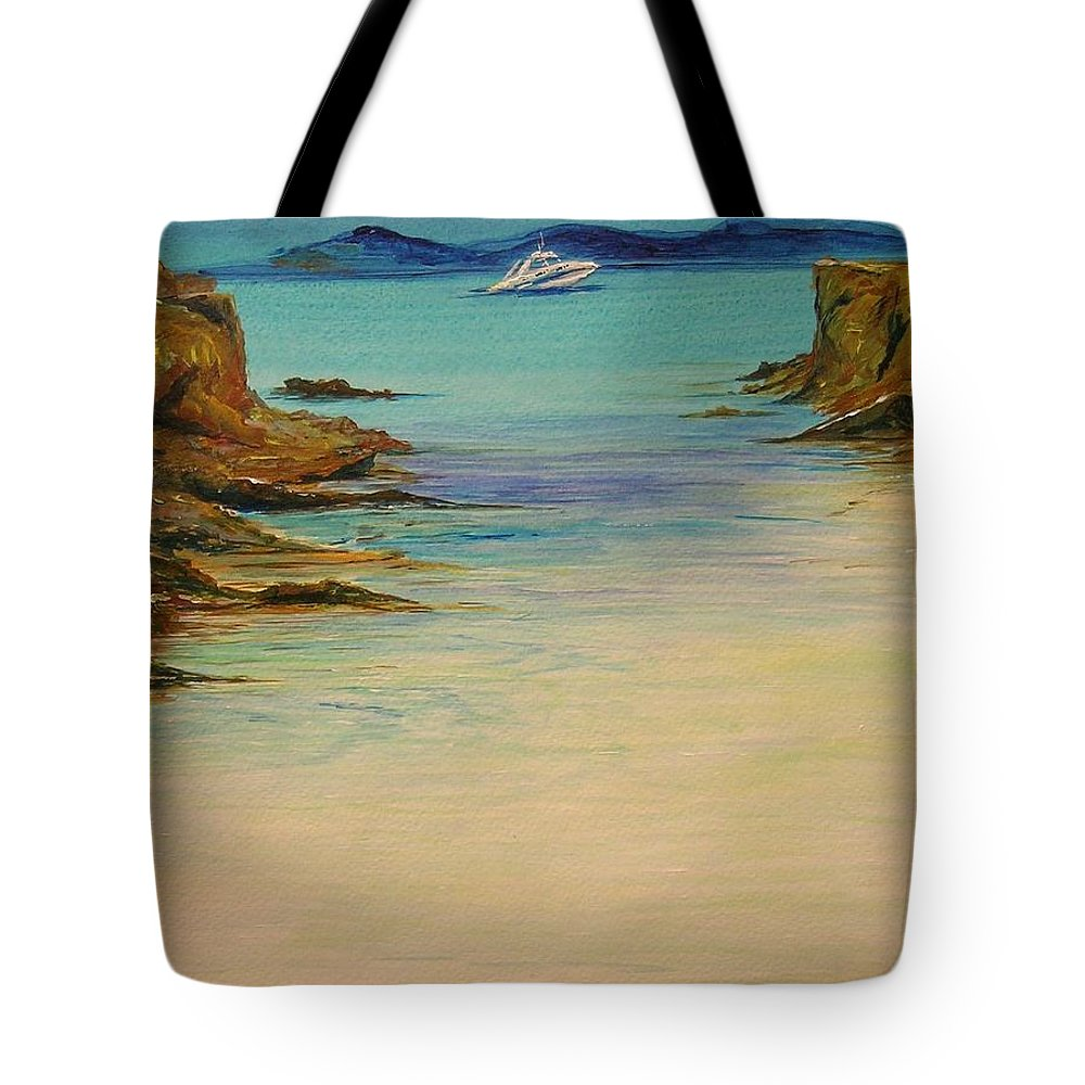 Seascape Original Painting Tote Bag featuring the painting Ibiza In The Distance.... by Lizzy Forrester
